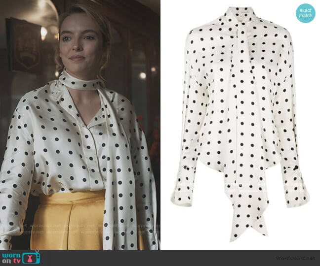 Polka Dot Beverly Shirt by Petar Petrov worn by Villanelle (Jodie Comer) on Killing Eve