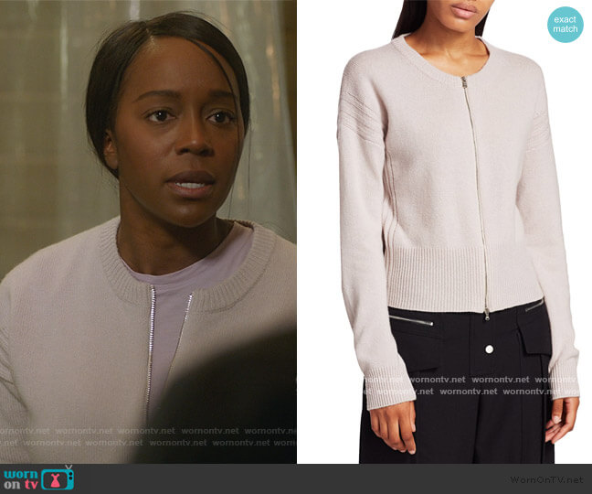 Wool & Cashmere Zip Cardigan by 3.1 Phillip Lim worn by Michaela Pratt (Aja Naomi King) on HTGAWM