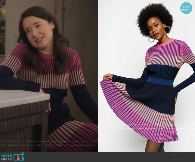 Colour Block Sweater and Skirt by Pinko worn by Marissa Gold (Sarah Steele) on The Good Fight