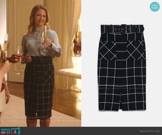 Plaid Pencil Skirt by Zara worn by Amanda (Helene Yorke) on Katy Keene