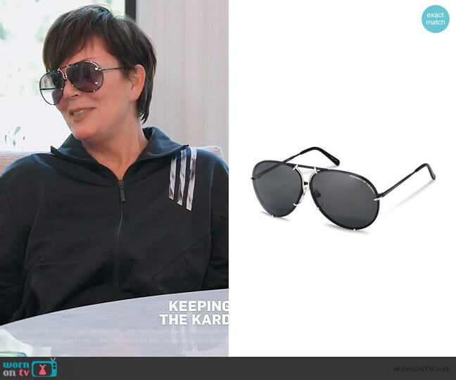 Titanium Interchangeable-Lens Aviator Sunglasses by Porsche Design worn by Kris Jenner  on Keeping Up with the Kardashians