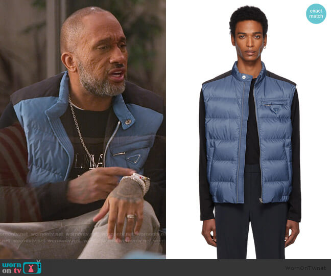 Blue Down Nylon Vest by Prada worn by Kenya Barris  on BlackAF