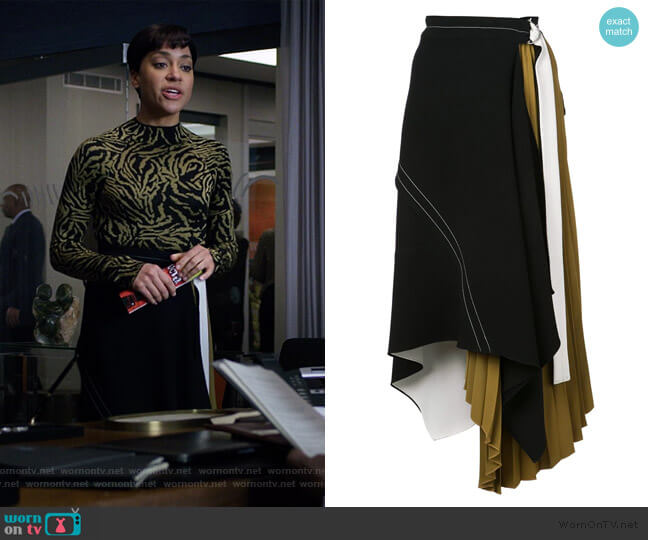 Asymmetrical Layered Belted Skirt by Proenza Schouler worn by Lucca Quinn (Cush Jumbo) on The Good Fight