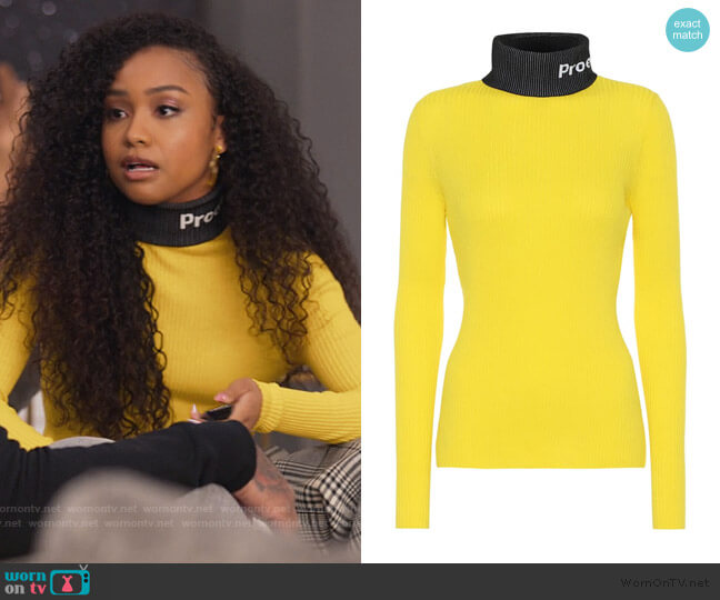 PSWL cotton turtleneck sweater by Proenza Schouler worn by Chloe Barris (Genneya Walton) on BlackAF