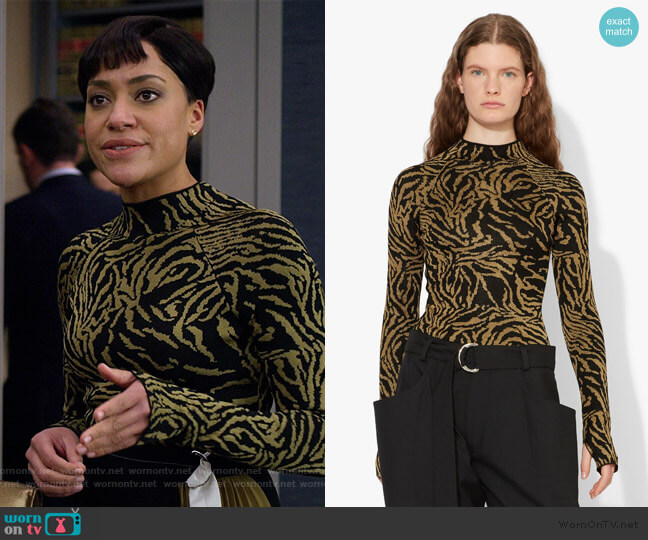 Zebra Jacquard Mockneck Top by Proenza Schouler worn by Lucca Quinn (Cush Jumbo) on The Good Fight