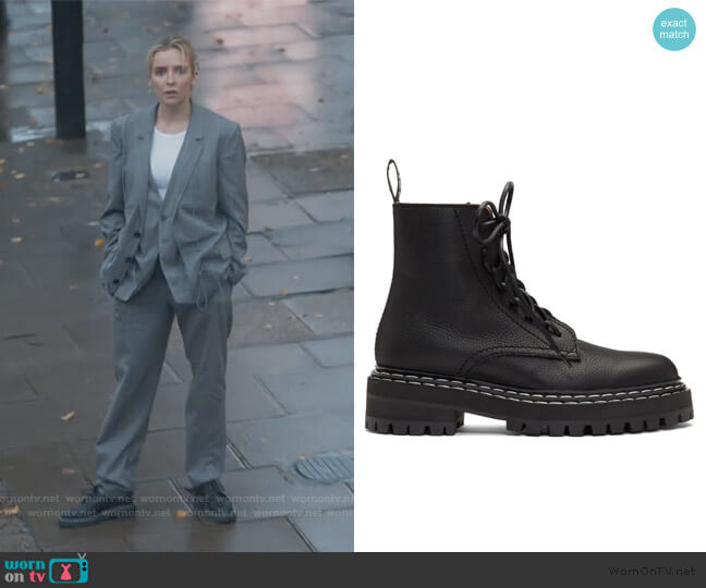 Leather Lace-up Boots by Proenza Schouler worn by Villanelle (Jodie Comer) on Killing Eve