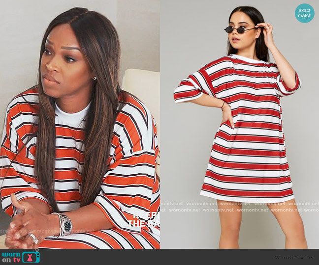 Red and White Stripe Oversized T-Shirt Dress by Public Desire worn by Khadijah Haqq McCray on Keeping up with The Kardashians