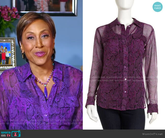 Python-Print Eyelet Blouse by Equipment worn by Robin Roberts  on Good Morning America
