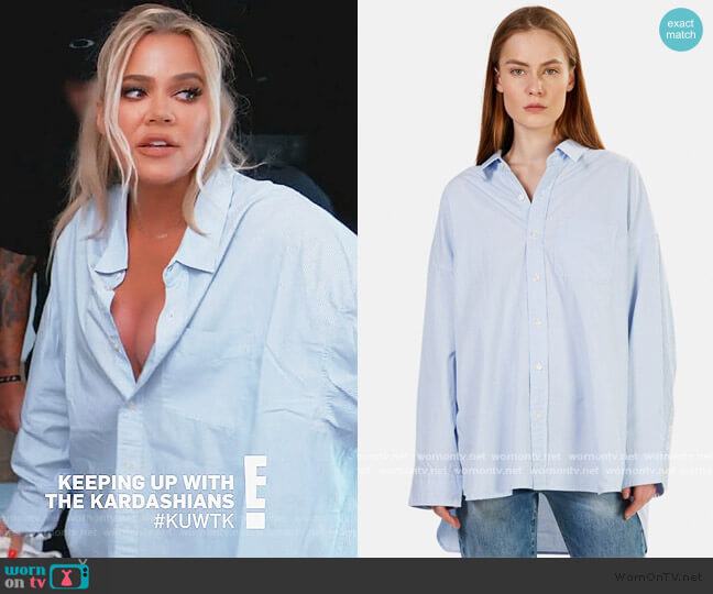 Drop Neck Oxford Shirt by R13 worn by Khloe Kardashian  on Keeping Up with the Kardashians