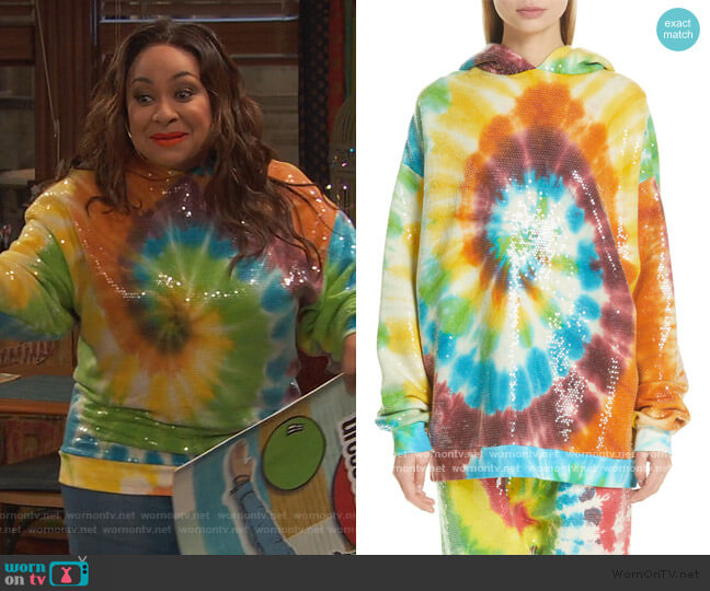 Sequin Tie Dye Rainbow Hoodie by R13 worn by Raven Baxter (Raven-Symoné) on Ravens Home