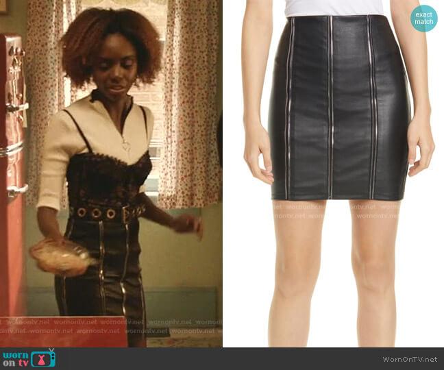Amelie Zip Detail Leather Miniskirt by RTA worn by Josie McCoy (Ashleigh Murray) on Katy Keene