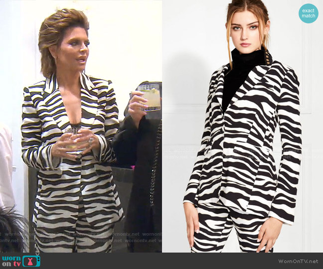 Stephani Zebra Printed Blazer by Rachel Zoe worn by Lisa Rinna  on The Real Housewives of Beverly Hills