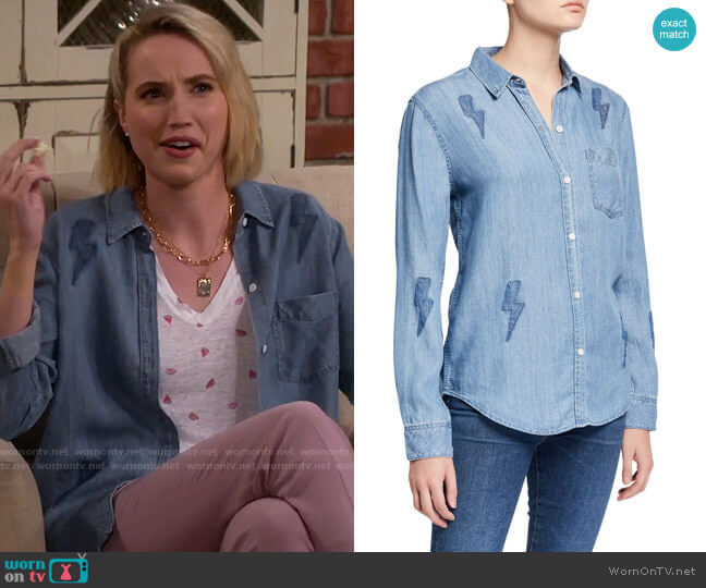 Rails Ingrid Lightning Bolt Button-Down Top worn by Mandy Baxter (Molly McCook) on Last Man Standing