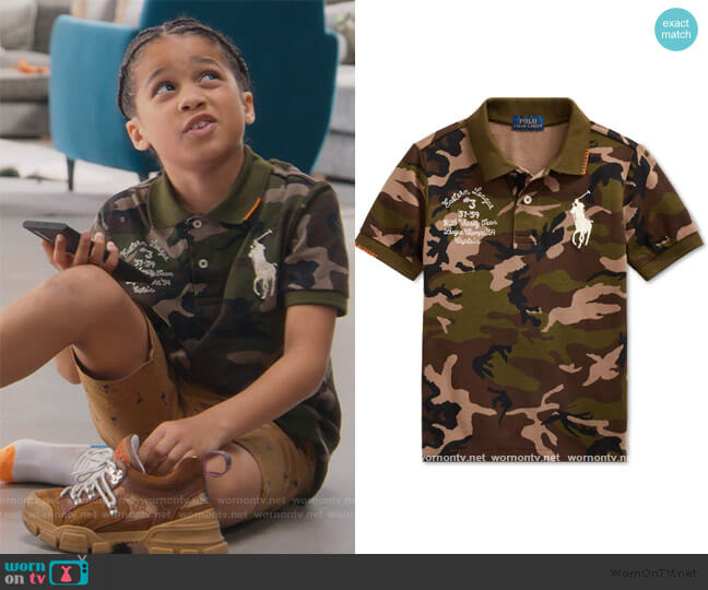 Big Pony Camo Cotton Mesh Polo Shirt by Ralph Lauren worn by Ravi Cabot-Conyers on BlackAF worn by Kam Barris (Ravi Cabot-Conyers) on BlackAF