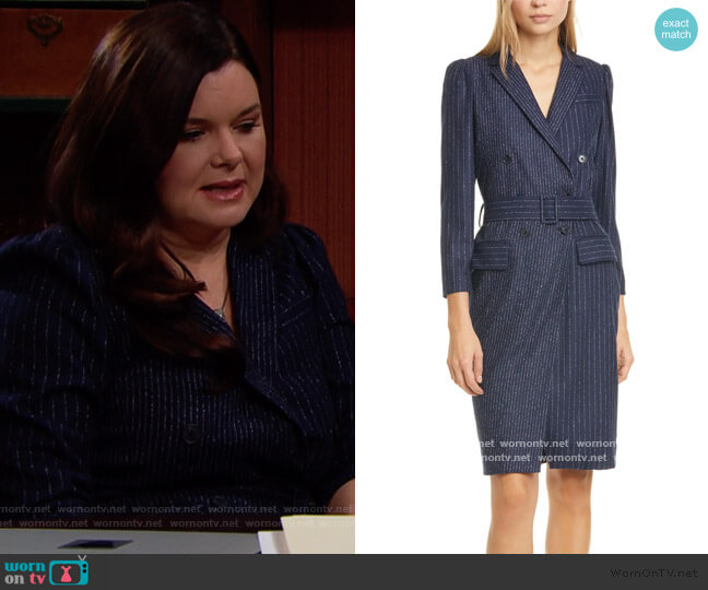Mixed Pinstripe Long Sleeve Blazer Dress by Rebecca Taylor worn by Katie Logan (Heather Tom) on The Bold & the Beautiful