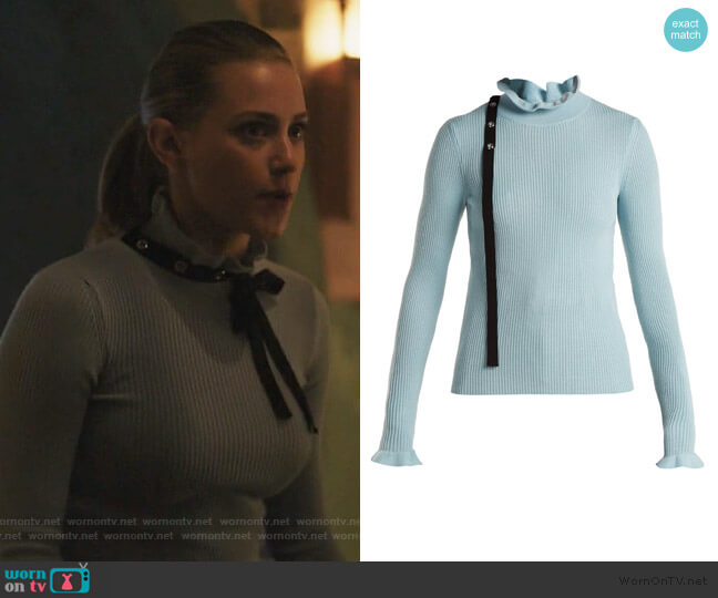 RED Valentino Grosgrain-trimmed wool sweater worn by Betty Cooper (Lili Reinhart) on Riverdale