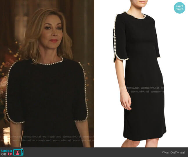 Pearl Trimmed Sheath Dress by Rickie Freeman for Teri Jon worn by Sharon Lawrence on Dynasty