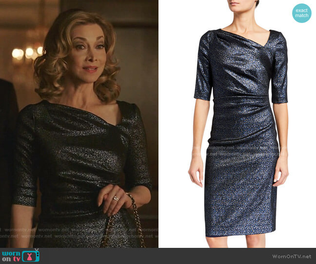 Metallic Tucked Bodice Dress by Rickie Freeman for Teri Jon worn by Sharon Lawrence on Dynasty