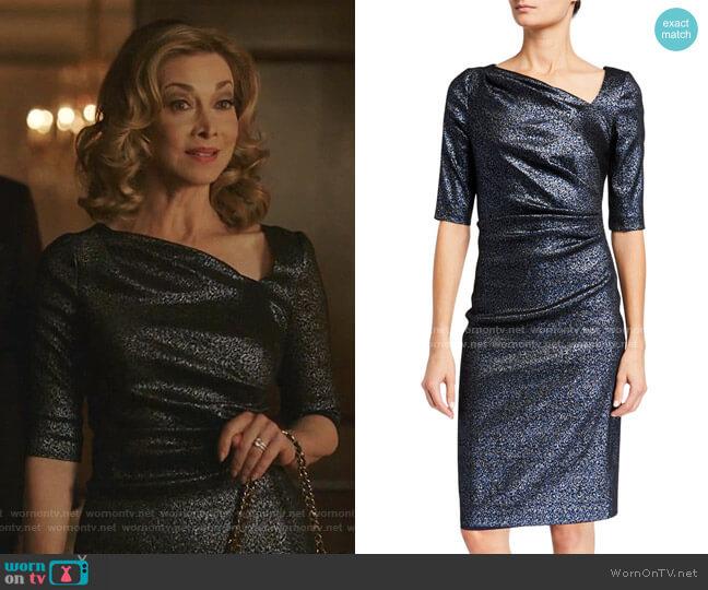 Metallic Tucked Bodice Dress by Rickie Freeman for Teri Jon worn by Sharon Lawrence on Dynasty