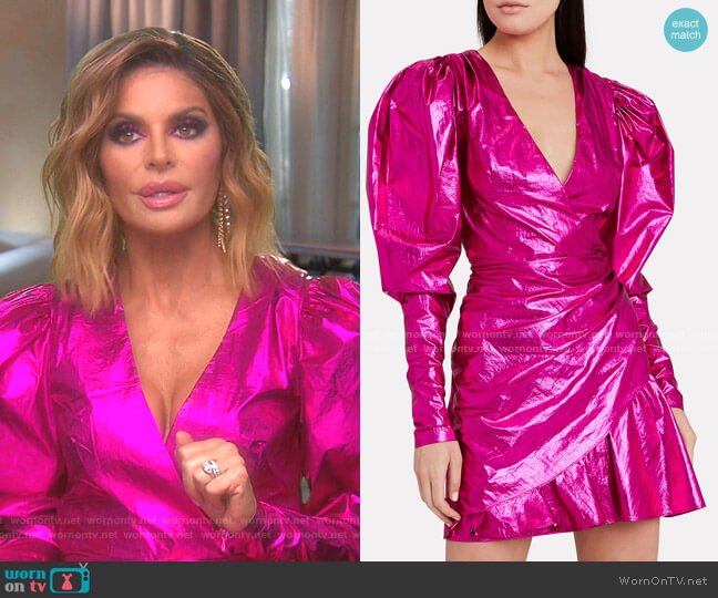 No. 24 Raspberry Metallic Mini Dress by Rotate worn by Lisa Rinna  on The Real Housewives of Beverly Hills