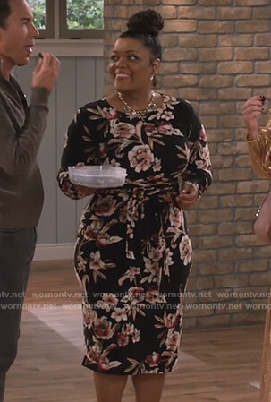 Ru's black floral tie waist dress on Will and Grace