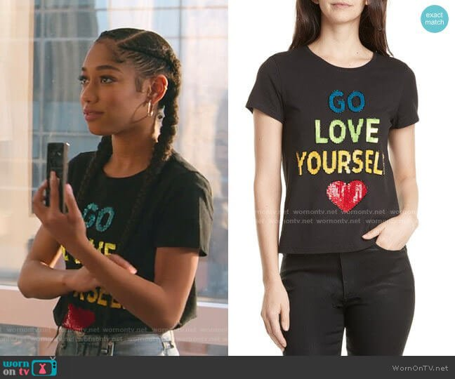 Rylyn Go Love Yourself Sparkle Tee by Alice + Olivia worn by Drea Barris (Iman Benson) on BlackAF