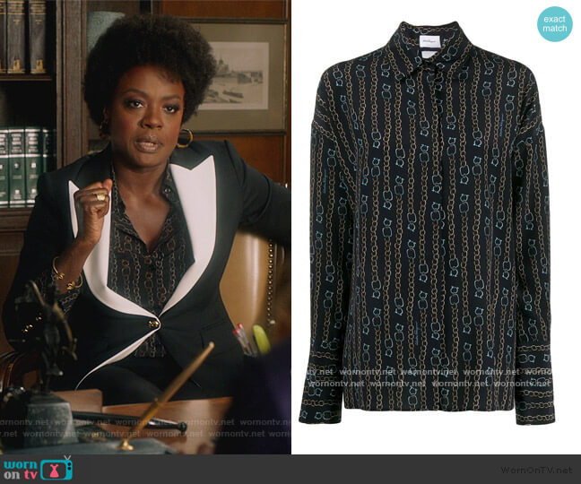 Chain Print Shirt by Salvatore Ferragamo worn by Annalise Keating (Viola Davis) on HTGAWM