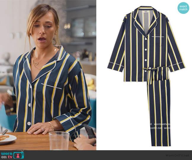 Striped Pajamas by Sleepy Jones worn by Joya Barris (Rashida Jones) on BlackAF