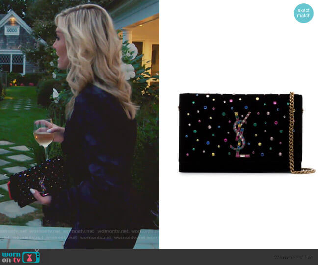 Black Kate Crystal Embellished Velvet Chain Bag by Saint Laurent worn by Tinsley Mortimer  on The Real Housewives of New York City
