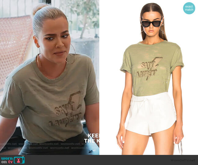 Lightning Bolt Graphic Tee by Saint Laurent worn by Khloe Kardashian  on Keeping Up with the Kardashians