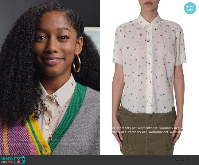 Star Printed Short Sleeve Shirt by Saint Laurent worn by Drea Barris (Iman Benson) on BlackAF