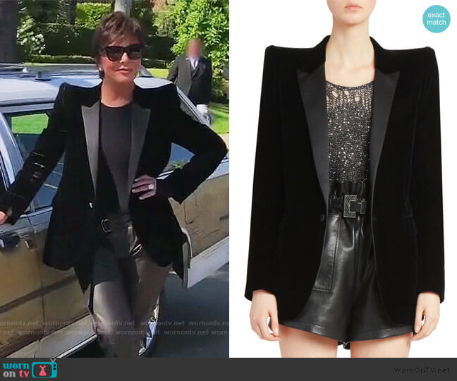 Velvet Tuxedo Blazer by Saint Laurent worn by Kris Jenner  on Keeping Up with the Kardashians