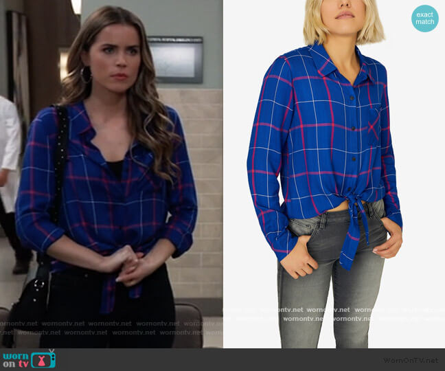 Hayley Plaid Tie-Front Shirt by Sanctuary worn by Sasha Gilmore (Sofia Mattsson) on General Hospital