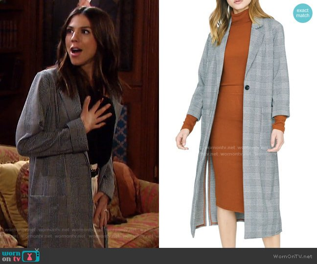 Timeless Plaid Duster Jacket by Sanctuary worn by Abigail Deveraux (Kate Mansi) on Days of our Lives