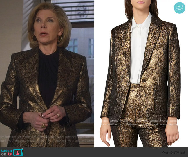 Floral Brocade Notch Lapel Blazer and Pants by Sandro worn by Diane Lockhart (Christine Baranski) on The Good Fight