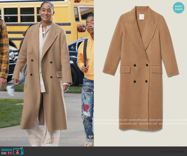 Long Double Faced Wool Coat by Sandro worn by Rainbow Johnson (Tracee Ellis Ross) on Blackish