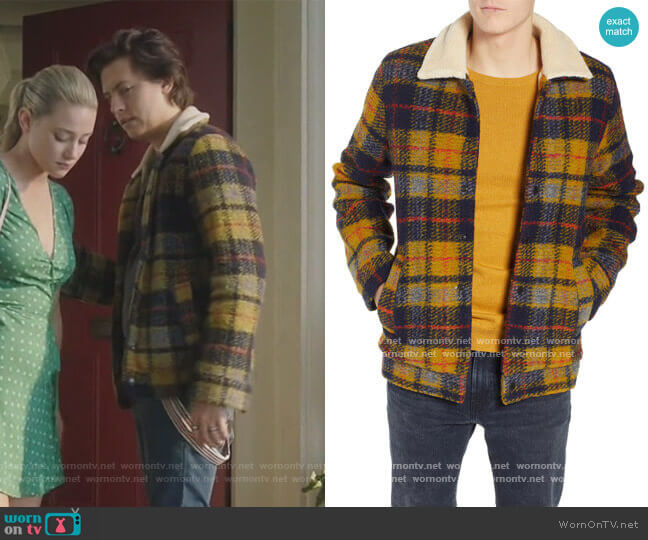 Plaid Faux Shearling Lined Wool Blend Trucker Jacket by Scotch & Soda worn by Jughead Jones (Cole Sprouse) on Riverdale