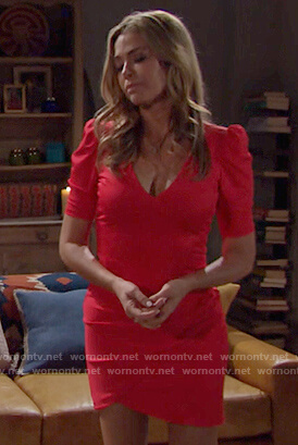Shauna's red puff sleeve mini dress on The Bold and The Beautiful