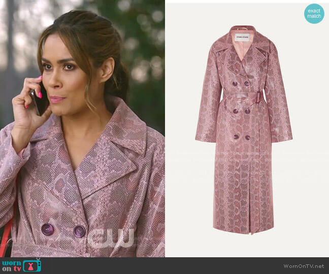 Snake-Effect Coated Vegan Leather Trench Coat by Stand Studio worn by Cristal Jennings (Daniella Alonso) on Dynasty