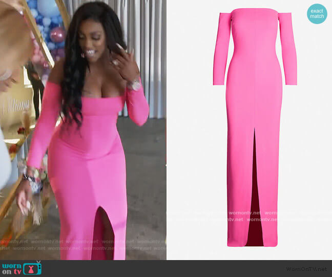 Odine off-the-shoulder stretch-ponté maxi dress by Solace London worn by Porsha Williams  on The Real Housewives of Atlanta