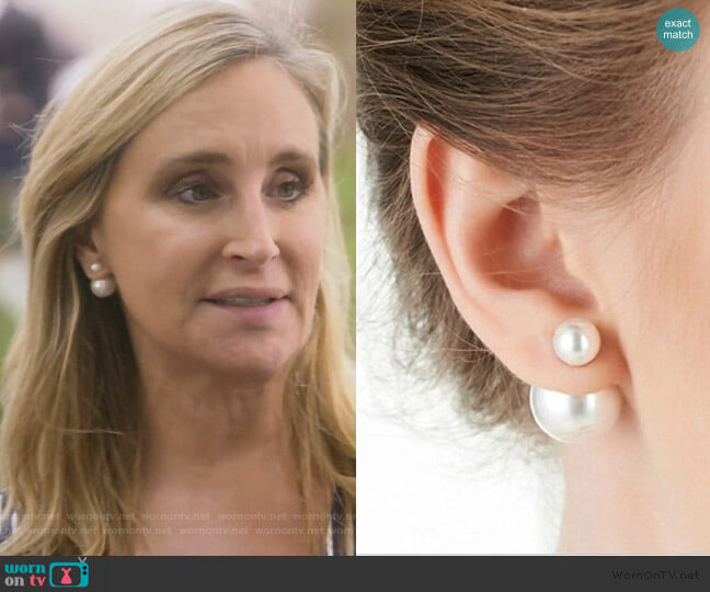 Double Pearl Stud Earrings by Sonja worn by Sonja Morgan  on The Real Housewives of New York City