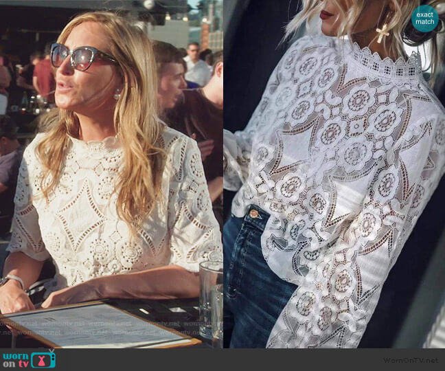 Elsy Lace Top by Sonja worn by Sonja Morgan  on The Real Housewives of New York City