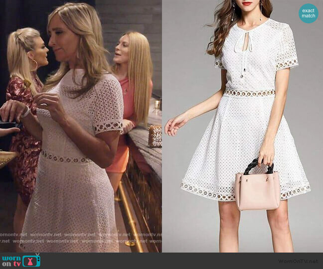 Grommeted Dot Lace Dress by Michael Kors worn by Sonja Morgan  on The Real Housewives of New York City