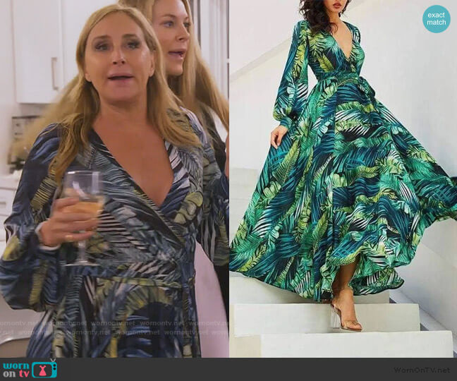 Tropical Print Vintage Maxi Dress by Sonja worn by Sonja Morgan  on The Real Housewives of New York City