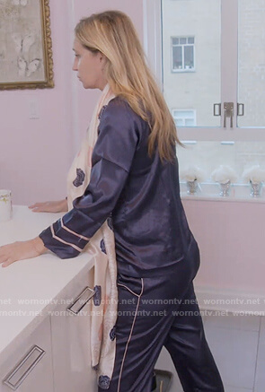 Sonja's blue satin pajamas on The Real Housewives of New York
