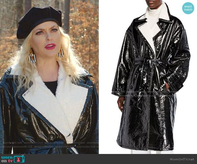Erica Patent Coat by Stand worn by Alexis Carrington (Elaine Hendrix) on Dynasty
