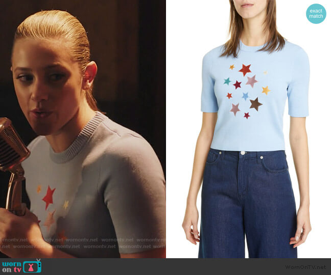 Lunar Star Appliqué Short Sleeve Sweater by Staud worn by Betty Cooper (Lili Reinhart) on Riverdale