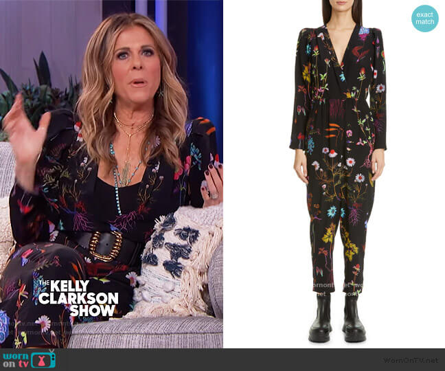 Floral Print Silk Crop Jumpsuit by Stella McCartney worn by Rita Wilson on The Kelly Clarkson Show worn by Kelly Clarkson  on The Kelly Clarkson Show