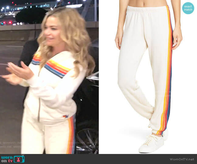 5-Stripe Zip Hoodie Pants by Aviator Nation  worn by Denise Richards  on The Real Housewives of Beverly Hills