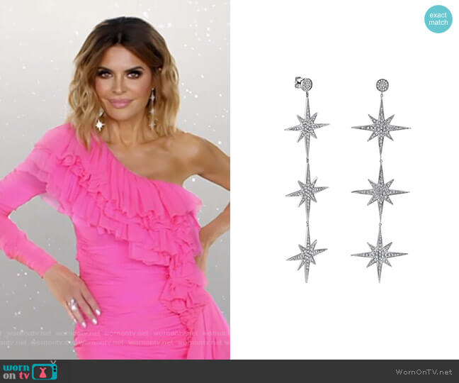 Starburst 3 drop earrings by Sydney Evan  worn by Lisa Rinna  on The Real Housewives of Beverly Hills